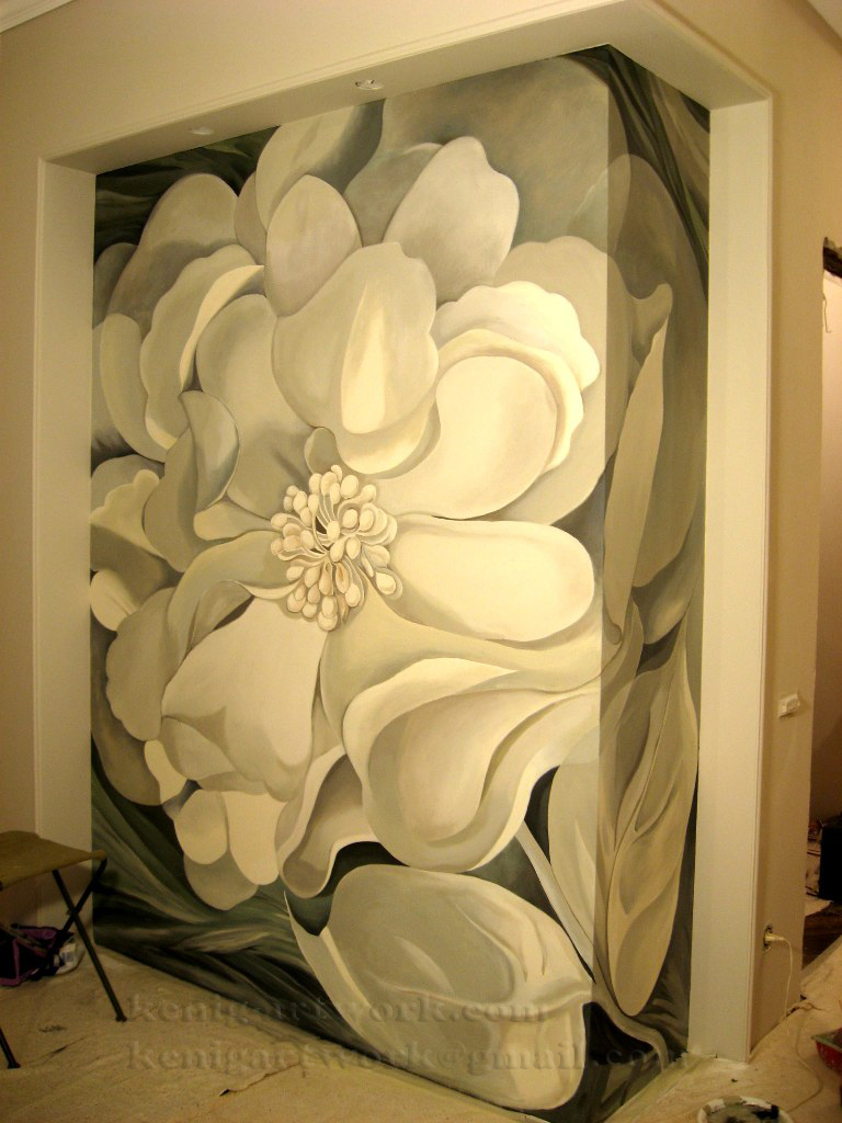 Wall painting White Flower